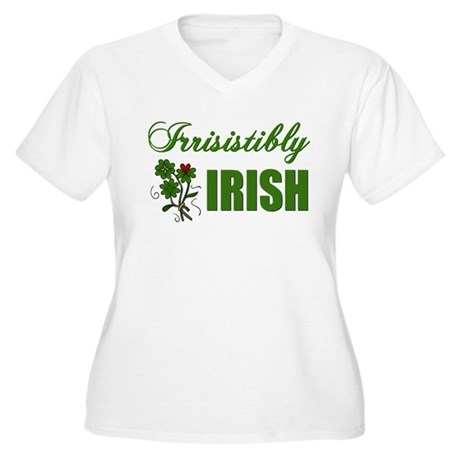 Irrisistibly Irish Women's Plus Size V-Neck T-Shir