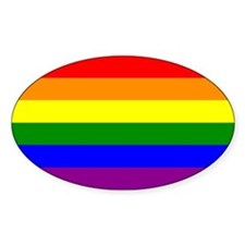 Gay Pride Flag Oval Decal
