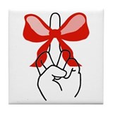 middle finger red Christmas bow Tile Coaster