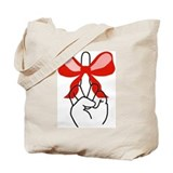 middle finger red Christmas bow Tote Bag