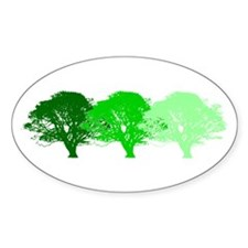 3 Trees Silhouette Oval Decal