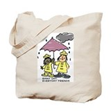 Rainy day, everyday friends Tote Bag