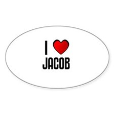 I LOVE JACOB Oval Decal