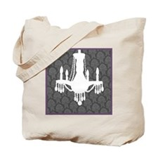 Chandelier Tote Bag-Grey with Purple Border