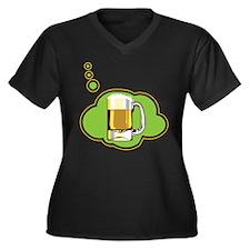 Beer Thinker Women's Plus Size V-Neck Dark T-Shirt