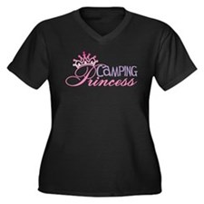 CAMPING PRINCESS Women's Plus Size V-Neck Dark T-S