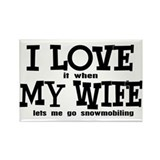 I Love My Wife - Snowmobiling Rectangle Magnet
