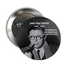 Existentialist Jean-Paul Sartre Button