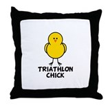 Triathlon Chick Throw Pillow