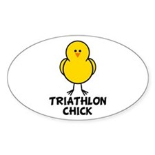 Triathlon Chick Oval Decal
