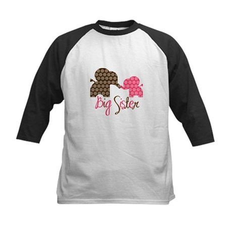 Big Sister Elephant Kids Baseball Jersey