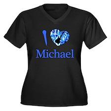 I Love Michael Women's Plus Size V-Neck Dark T-Shi