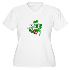 Lucky Clover ? T-Shirts and G Women's Plus Size V-