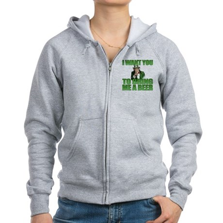 Uncle Sam Bring Me a Beer Women's Zip Hoodie