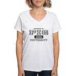 Pig University Women's V-Neck T-Shirt