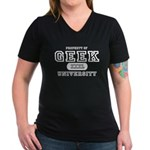 Geek University Women's V-Neck Dark T-Shirt