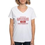Santa's Helper University Women's V-Neck T-Shirt