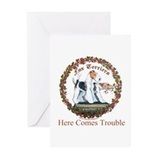 Fox Terrier Trouble Greeting Card