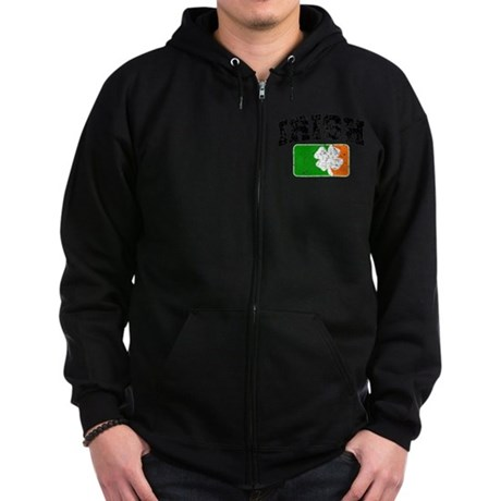 Distressed Irish Flag Logo Zip Hoodie (dark)