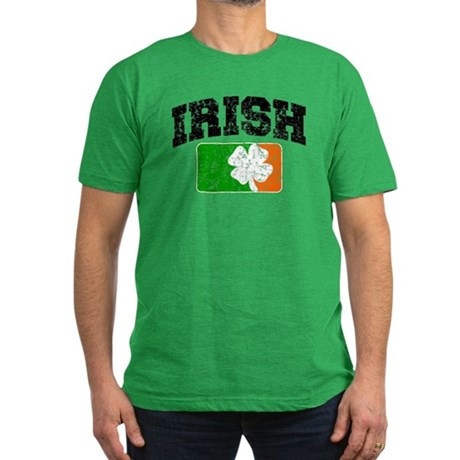 Distressed Irish Flag Logo Men's Fitted T-Shirt (d