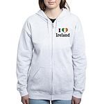 I Love Ireland Tricolor Women's Zip Hoodie