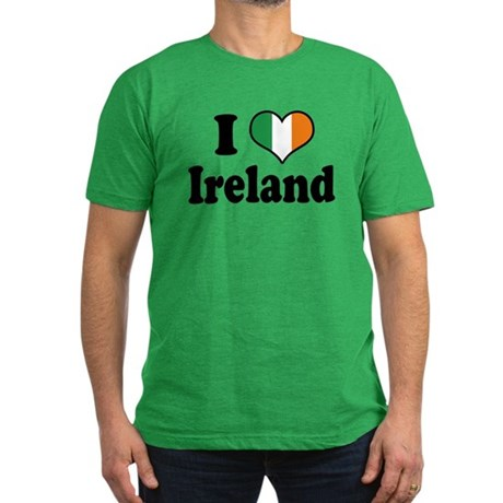 I Love Ireland Tricolor Men's Fitted T-Shirt (dark