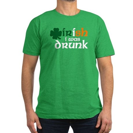 Irish I Was Drunk Tri-color Men's Fitted T-Shirt (