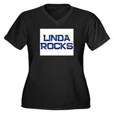 linda rocks Women's Plus Size V-Neck Dark T-Shirt