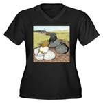 Trumpeter Pigeon Pair Women's Plus Size V-Neck Dar