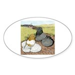 Trumpeter Pigeon Pair Oval Sticker (10 pk)