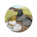 "Trumpeter Pigeon Pair 3.5"" Button (100 pack)"