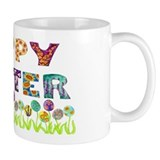 Happy Easter Egg Flowers Small Mug
