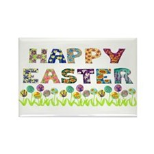 Happy Easter Egg Flowers Rectangle Magnet