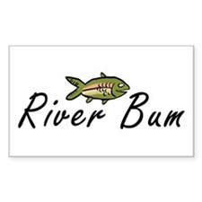River Bum Trout Rectangle Decal
