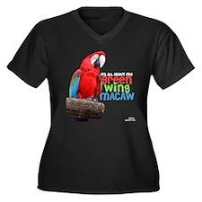 Green Wing Macaw Women's Plus Size V-Neck Dark T-S