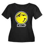 Accha? Women's Plus Size Scoop Neck Dark T-Shirt