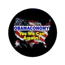 "Obamaconomy-blue 3.5"" Button (100 pack)"
