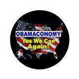 "Obamaconomy-blue 3.5"" Button"