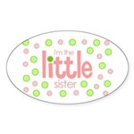 little sister t-shirt polkadot Oval Sticker