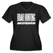 Boar Hunting Women's Plus Size V-Neck Dark T-Shirt