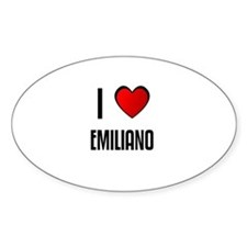 I LOVE EMILIANO Oval Decal
