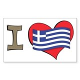 I heart Greece Rectangle Decal