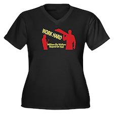 Work Hard Women's Plus Size V-Neck Dark T-Shirt