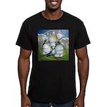 Owl Pigeons In Field Men's Fitted T-Shirt (dark)