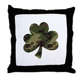 Camo Shamrock Throw Pillow
