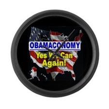 Obamaconomy-blue Large Wall Clock