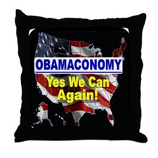 Obamaconomy-blue Throw Pillow