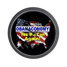 Obamaconomy-blue Wall Clock