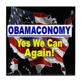 Obamaconomy-blue Tile Coaster