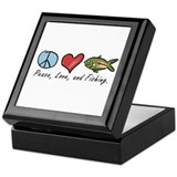 Peace, Love, Fishing Keepsake Box
